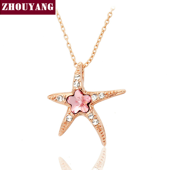 Top Quality Starfish with Wintersweet Necklace Rose Gold Color Fashion Jewellery Nickel Free Pendant Crystal ZYN043 ZYN044