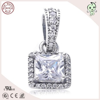 925 Authentic Silver Square Stone Pendant Charm Fitting European Famous Brand Silver Bracelet