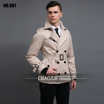 Hot New Men's Trench Coat Men Fashion Korean Short jackets Spring Autumn Brand Casual Long Sleeve Double Button Outerwear Coats