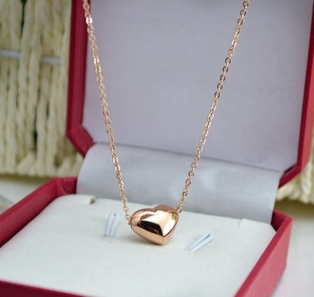 YUN RUO 2017 Smooth Surface Heart Predant Necklace Woman Gift Jewelry Titanium Steel Rose Gold Color