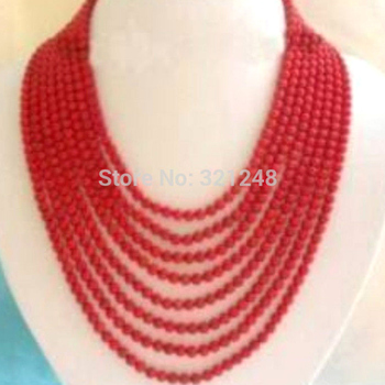 Charming 8 rows red orange artificial coral round beads woman round beads necklace jewelry making 15inch BV370