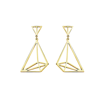 Origami Sailboat Drop Earrings For Women Three - Dimensional Space illusion Flat Geometry Artwork Boat Jewelry Bridesmaid Gifts