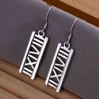 Wholesale silver plated earringsfashion jewelry Earring For Women,Silver Plated Earrings Hollow Rome Earrings E045