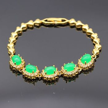 GZJY New Classic Yellow Gold Color Oval Green Stone Cubic Zirconia Bracelet Bangle