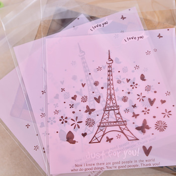 500pcs Pink Eiffel Tower Style Self-adhesive OPP Wedding Party Gift and Candy Packaging bag Cake and Cookie Baking Bags BZ205